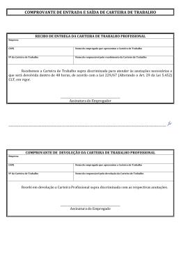 Formulário comprovante de entrada e saída de CTPS