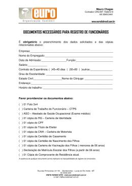 documentos necessários para registro de funcionários