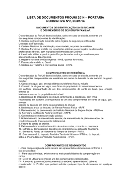 Lista de Documentos do PROUNI
