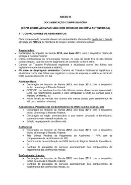 documentação comprobatória - anexo II
