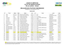 JOGOS OLÍMPICOS 12 a 21 de agosto de 2016 RELAÇÃO
