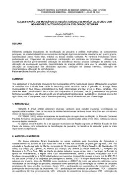 classificação dos municípios da região agrícola de marília de