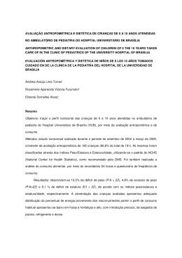 AVALIAÇÃO ANTROPOMÉTRICA E DIETÉTICA DE