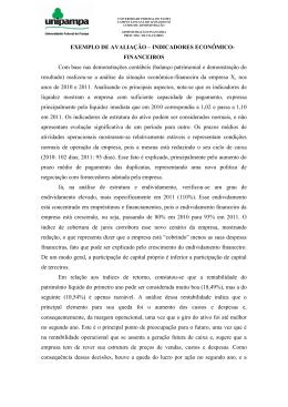 EXEMPLO DE AVALIAÇÃO – INDICADORES