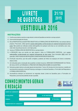 Prova Geral do Vestibular 2016 da PUC