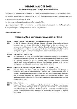 PEREGRINAÇÕES 2015 - Paróquia dos Mártires