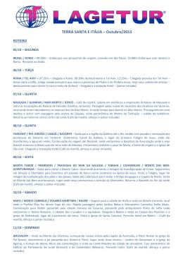 TERRA SANTA E ITÁLIA – Outubro/2015