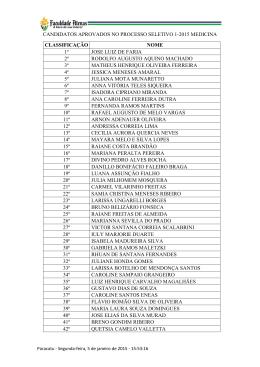 candidatos aprovados no processo seletivo 1-2015