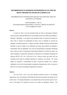 recomendação da adubação nitrogenada na cultura do