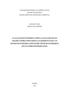 avaliação do incômodo à população da região da grande vitória por