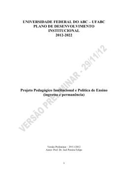 ingresso e permanência - Plano de Desenvolvimento Institucional