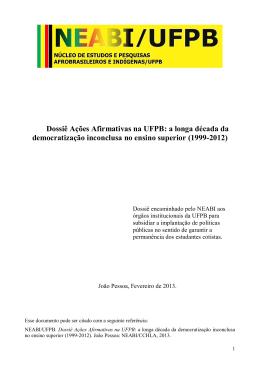 Dossiê Ações Afirmativas - CCHLA - Universidade Federal da Paraíba