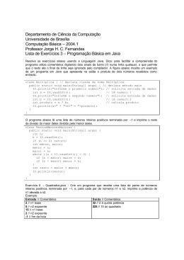 Lista de Exercícios 3 - Java - Programas diversos