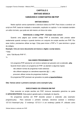 CAPITULO 2 SINTAXE BÁSICA VARIÁVEIS E CONSTANTES EM PHP