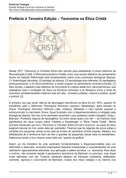 Prefácio à Terceira Edição – Teonomia na Ética Cristã