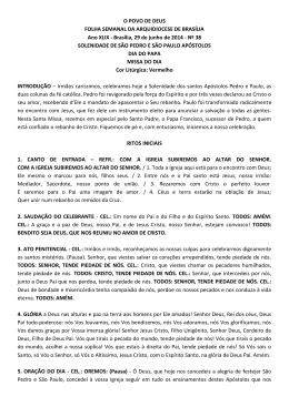 Solenidade de São Pedro e São Paulo Apóstolo / Dia do Papa