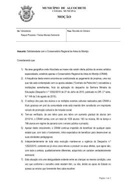 MOÇÃO - Câmara Municipal de Alcochete