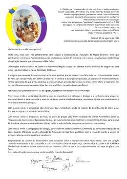 Auteuil, 15 de agosto de 2015 Solenidade da Assunção da
