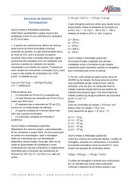 Exercícios de Química Termoquímica