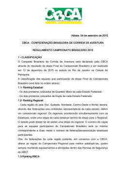 CONFEDERAÇÃO BRASILEIRA DE CORRIDA DE AVENTURA