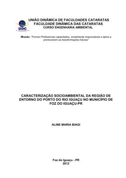 Caracterização socioambiental da região de entorno do porto