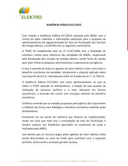 AUDIÊNCIA PÚBLICA 017/2015 Com relação à Audiência Pública