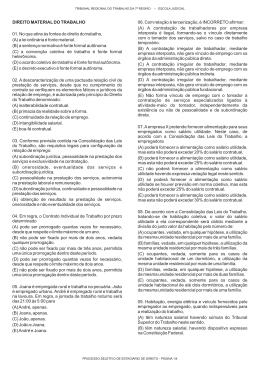 DIREITO MATERIAL DO TRABALHO 06. Com relação à