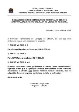 ESCLARECIMENTOS COM RELAÇÃO AO EDITAL Nº 007.2015