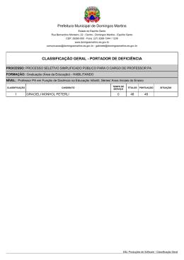 Classificação Geral Portador de Deficiência