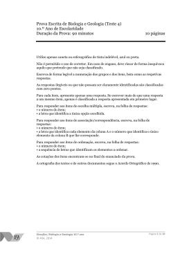 Prova Escrita de Biologia e Geologia (Teste 4) 10.º Ano de
