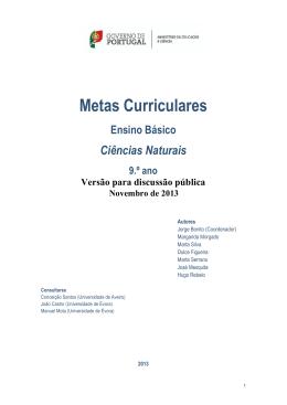 Metas Curriculares Ciências Naturais 9º ano