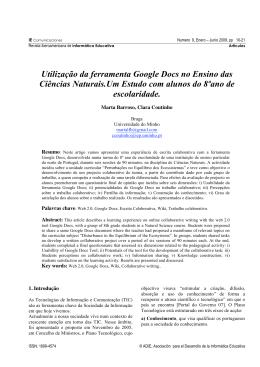 Utilização da ferramenta Google Docs no Ensino das