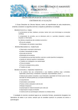 grupo disciplinar de ciências naturais critérios de avaliação