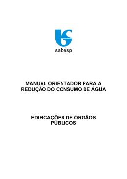 manual orientador para a redução do consumo de água edificações