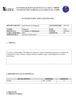 PLANO DE ENSINO - EDUCAÇÃO INFANTIL - Faed