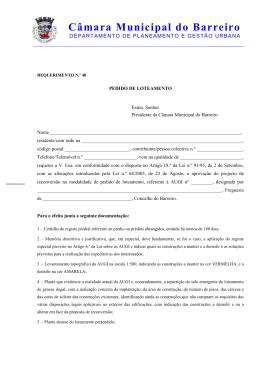 Pedido de loteamento (augi) - Câmara Municipal do Barreiro