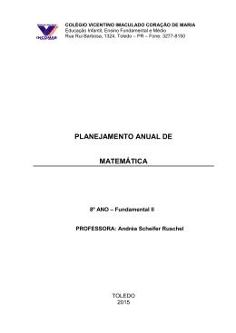 Planejamento Anual de Matemática - Colégio Vicentino Imaculado
