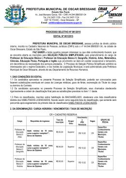 PREFEITURA MUNICIPAL DE OSCAR BRESSANE
