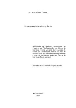 Luciana da Costa Ferreira Um personagem chamado Lima Barreto