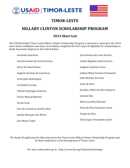 TIMOR-LESTE HILLARY CLINTON SCHOLARSHIP PROGRAM