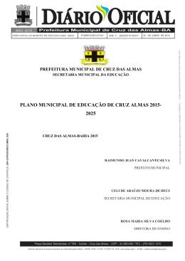 plano municipal de educação de cruz almas 2015- 2025