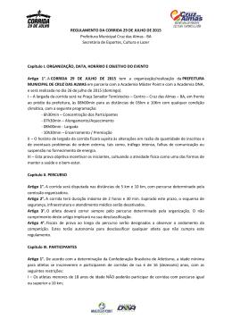 REGULAMENTO DA CORRIDA 29 DE JULHO DE 2015 Prefeitura