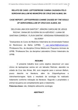 relato de caso: leptospirose canina causada pelo sorovar