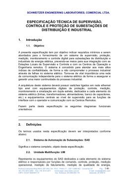 especificação técnica de supervisão, controle e proteção de