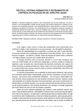 política, sistemas normativos e instrumentos de controle da poluição