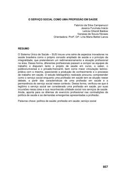 O SERVIÇO SOCIAL COMO UMA PROFISSÃO EM SAÚDE