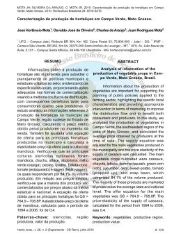 Caracterização da produção de hortaliças em Campo Verde, Mato