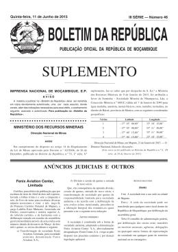 SUPLEMENTO - Portal do Governo de Moçambique