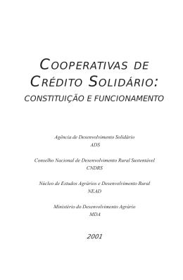 Cooperativas de Crédito Solidário: Constituição e Funcionamento