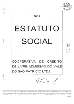 Estatuto Social - Coop. de Crédito do Vale do São Patrício Ltda.
